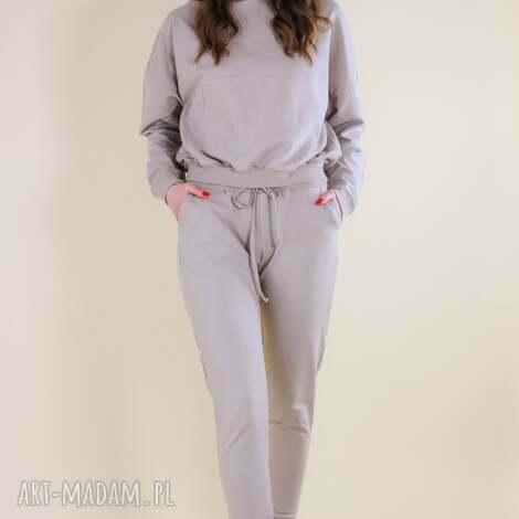 dres komplet damski bluza ze spodniami kolor beż, beżowy