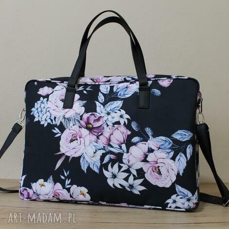 torba na laptop - warkocze kwiatów, elegancka, pakowna, kwiaty, laptop, prezent