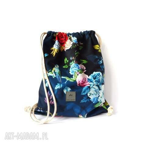 plecak welurowy kolibry róże, worek, workoplecak, welurowyplecak