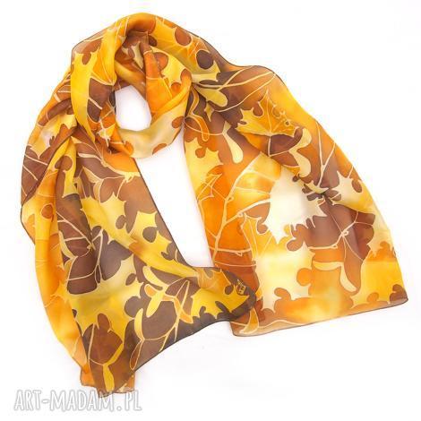 chustki i apaszki szal jedwabny ręcznie malowany jesienne liście, jesienny