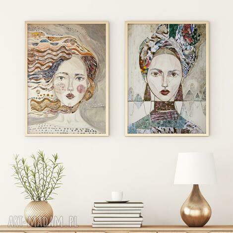 zestaw 2 plakatów a2 - twarze, plakat, wydruk, kobieta, twarz, dziewczyna