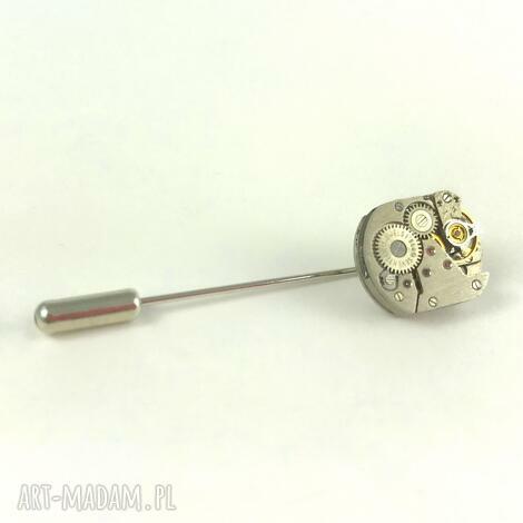 pin - squares i - pin, rękodzieło, posrebrzany, mechanizm