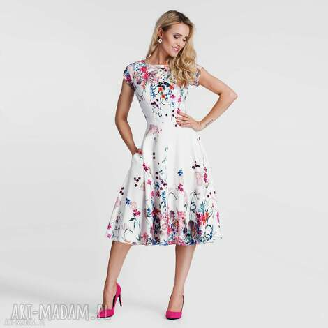 sukienki sukienka klara total midi otylia, sukienka, midi, rozkloszowana