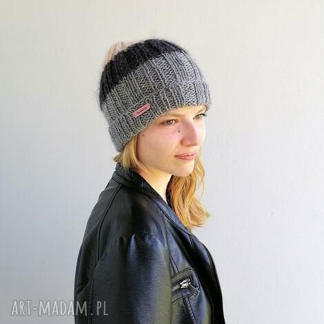 lekka czapka z merino - meriono, czapka na drutach, wełniana, na prezent