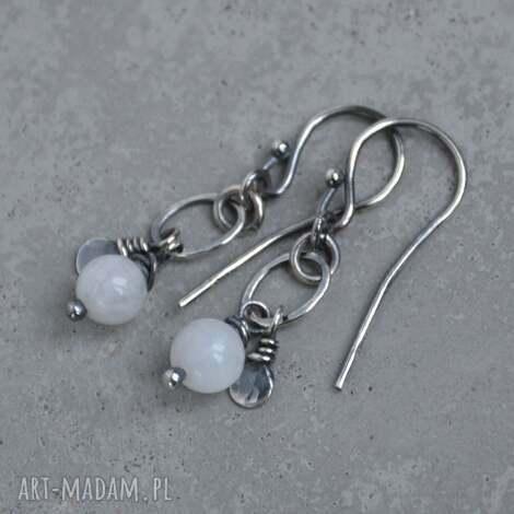 kamień księżycowy subtelne wiszące kolczyki, kolczyki, srebro 925