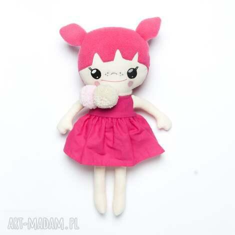 bawełniana laleczka z pomponami, lalka, laleczka, lalka handmade, ręcznie szyta