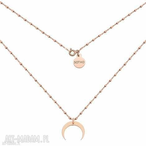 naszyjnik z różowego złota z księżycem - naszyjnik, różowe