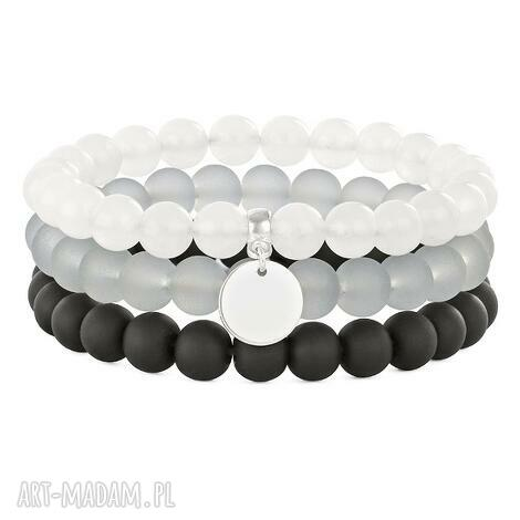 simply charm-moon,black, gray silver trio - jadeit, moneta, koralik
