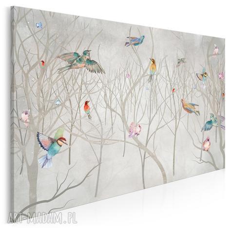 obraz na płótnie - drzewa ptaki natura sztuka 120x80 cm 93701, ptaki, las