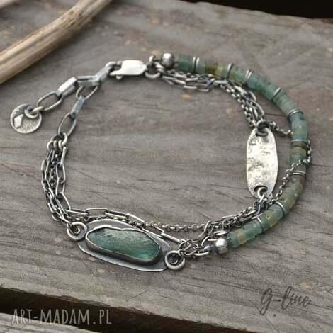 surowa srebrna bransoletka ze szkłem antycznym, szkło, antyczne, afgańskie
