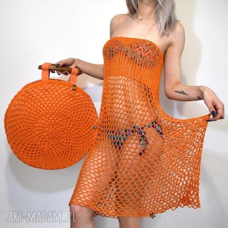 okrągła torba wiosenno-letnia pomarańczowa, torba, torebka, ażur