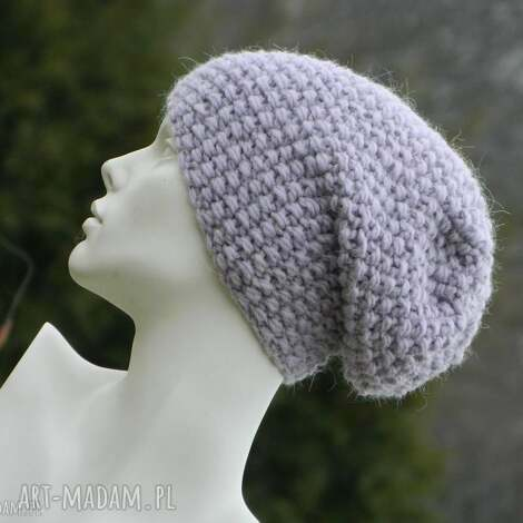 gruba z alpacą ciepła czapka pastel pink pastelowa czapka na zimę,