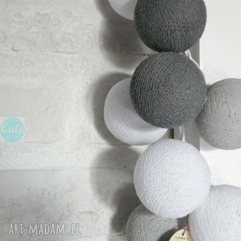 lampy lampki grey shadow 20 cotton ball lights, salon, sypialnia, lampki, światło