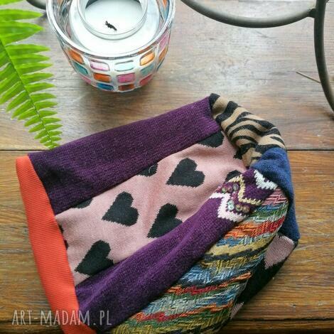 Ruda Klara - czapka damska smerfetka szyta patchworkowy. na podszewce, obwód głowy duzy 60-62cm