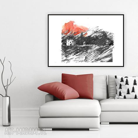 kiedy słońce zachodzi art print a4, ilustracja, plakat, obraz, dom plakaty
