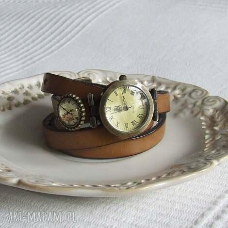 zegarek vintage z grafiką skórzany cappucino - biżuteria, zegarek, bransoletka