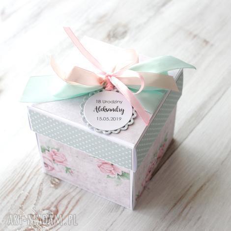 box eksplodujące pudełko osiemnastka prezent, urodziny, kartka