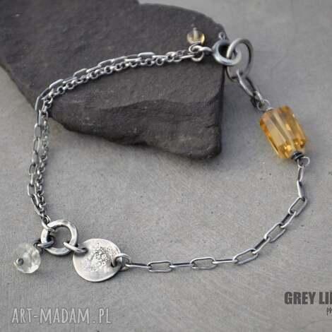 bransoletka mini z cytrynem, srebro, cytryn