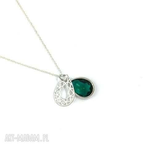 naszyjnik srebrny krysztaŁ emerald i celebrytka - naszyjnik, biżuteria, emerald