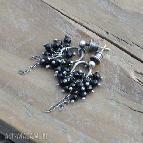 czarny spinel srebrne kolczyki, srebro, spinel, wkrętki, wiszące, surowe