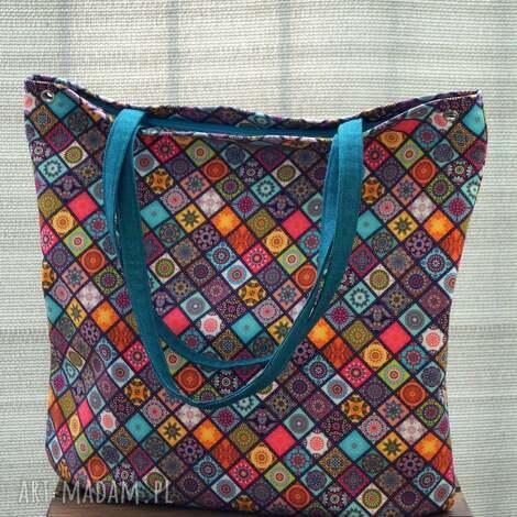 wodoodporna kolorowa torba na ramię xl, codzienna torba, miejska, polski produkt