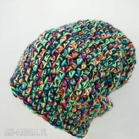 czapka hand made no 020 beanie szydło - szydełko, ręcznie-wykonana