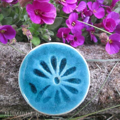 wytworna - ceramiczna, turkusowa, kwiatek
