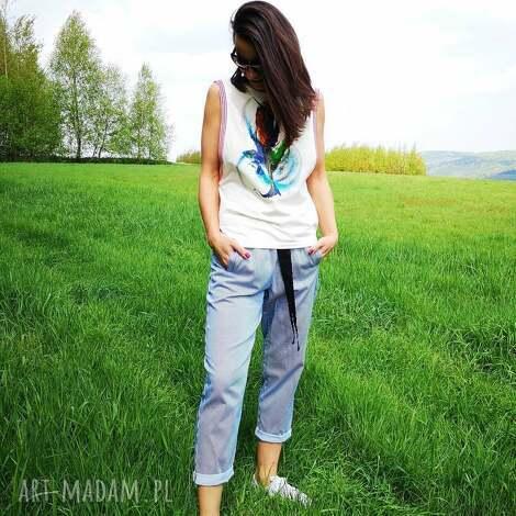 spodnie marine, spodnie, paski, stripes, cygaretki, lato