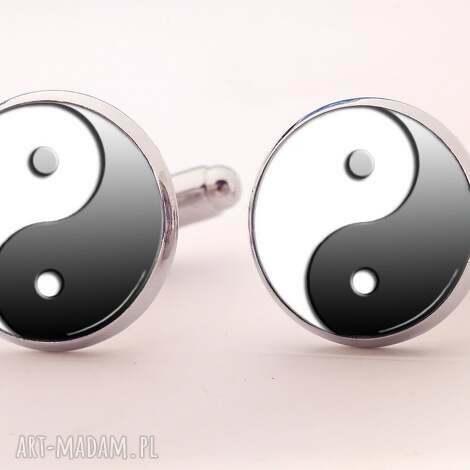 ying yang - spinki do mankietów - ying, yang, symboliczne, spinki, prezent