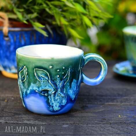 porcelanowy kubek do espresso, kubeczek kawy, niebiesko zielony 250 ml