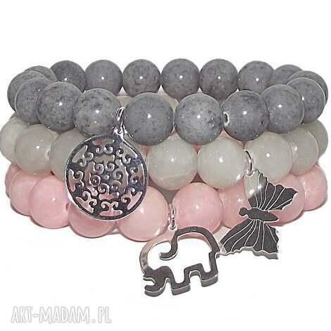 słonik i motyl, rozeta, rozetka, medalion, srebro, kamienie, bransoletka biżuteria