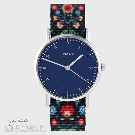 zegarki zegarek - simple, granatowy folk czarny, nato, zegarek, klasyczny