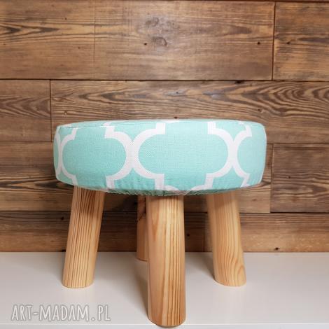 pufa miętowa koniczyna maroco - 23 cm, puf, taboret, puff, vintage, stołek