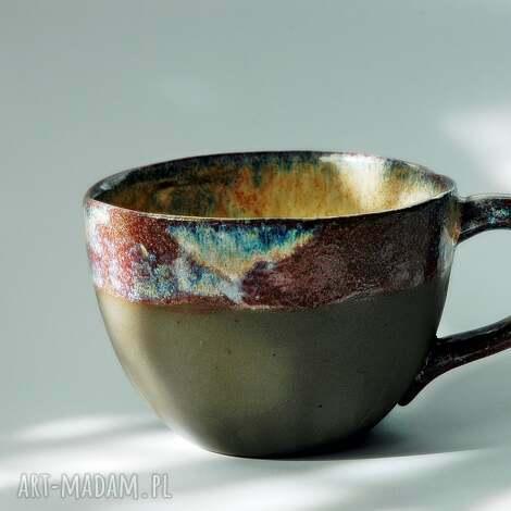 kubek pot-pourrie - brazowo-niebiesko-bordowy, duży kubek, wyjątkowy, oryginalny