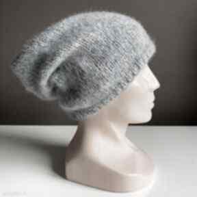Ręcznie robiona czapka mgła hand made szaro błękitna alpaka