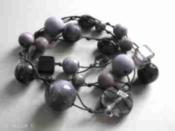 Magic violet - długie korale judithbijoux korale, drewno,
