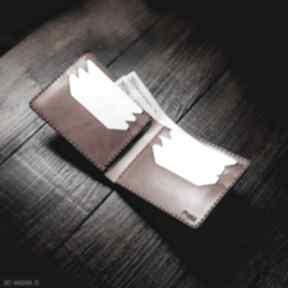 Męski portfel skórzany koniakowy model poziomy portfele