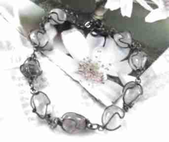 Bransoletka z kwarcem bryłki witrazka kryształ-górski, kryształ