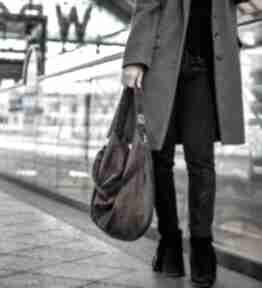 Brązowa zamszowa torba worek na ramię bags philosophy torebka