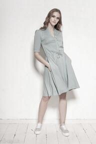 Sukienka z rozkloszowanym dołem - suk195 mięta sukienki lanti