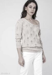 Ażurowy sweterek, swe145 beż mkm swetry dekolt, plecy