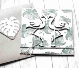 kartki! flamingi: monstera: kartka ślubna, miłosna