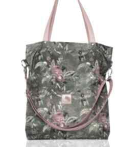 Duża zielona torba w kwiaty i pszczoły torebki bags philosophy