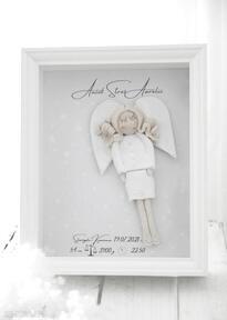 Anioł opiekuńczości elegancka metryczka z aniołem pokoik dziecka