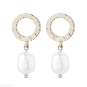 Złote kolczyki z naturalnymi perłami sotho kolczyki, pozłacane