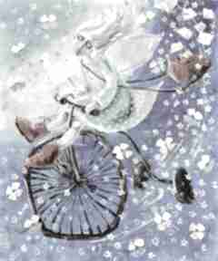 Anioł na rowerze 50x60cm dom marina czajkowska anioł, dobry
