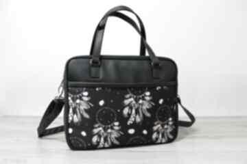 Torba miejska - czarna i łapacze snów na ramię torebki niezwykle