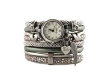 Zegarek - bransoletka, zielono brązowy zegarki megi mikos damski