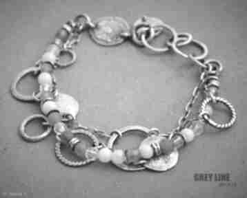 Bransoletka mieszana różowa grey line project srebro, 925