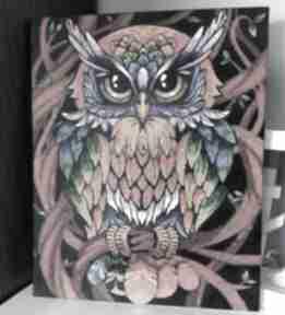 Obraz sowy malowany farbami sznurekwiki obraz, sowa, malowany,